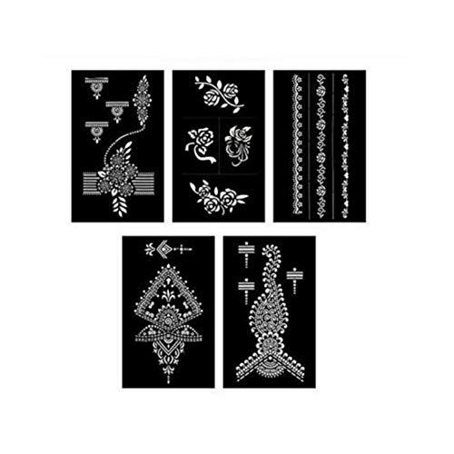Fanville 5 pcs/Ensemble Kit De Pochoirs De Tatouage Au Henné Facile Pochoirs De Tatouage Au Henné Temporaires Modèle Body Art