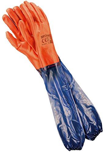 REIS Lange Arbeitshandschuhe für mechanische Arbeit Wasserdichte Handschuhe, EN388 & EN420, Gr.- 10 (60cm), Rot-Blau