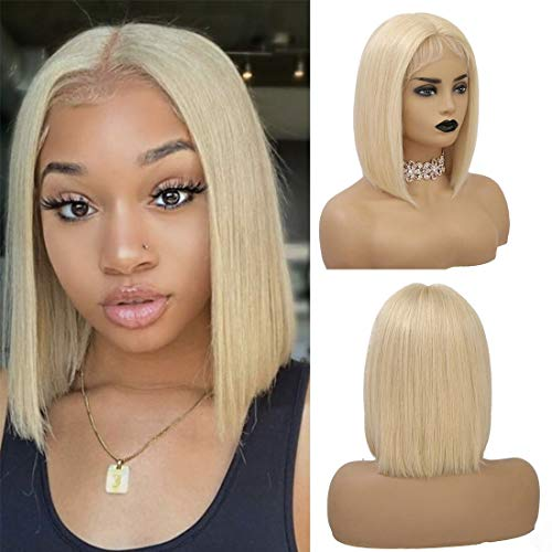 BHL 613 Blonde Short Bob Wigs Pre Plucked 13x1x4 Lace Frontal China Virgin Human Hair 150% Density T Part Lace Wigs Bob Wigs Middle Part for Women with Baby Hair (14 Inch, 613# Blonde)