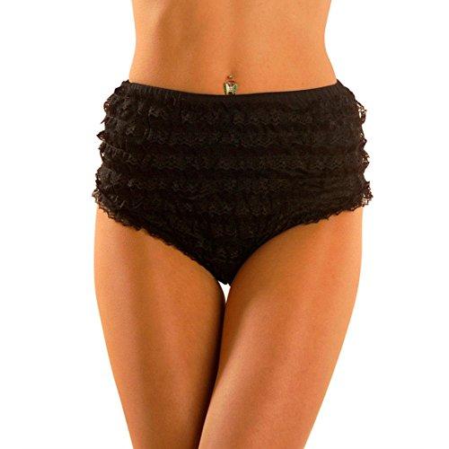 NET TOYS Sexy Burlesque Panty Rüschen Slip M 38/40 schwarz Retro Rüschenslip Garde Spitzen Höschen 50er Jahre Rüschenhöschen Ballett Volant Panties