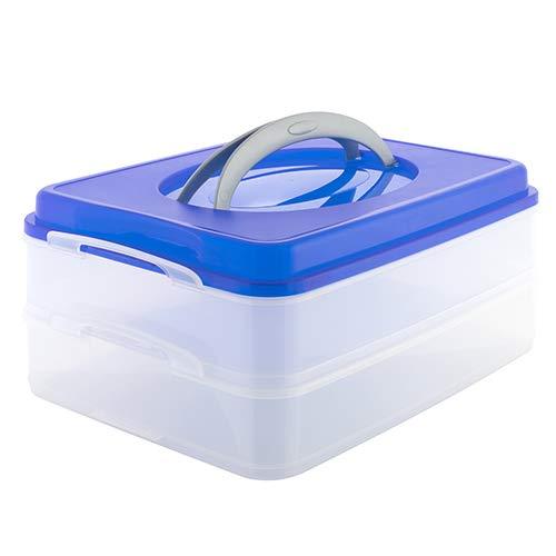 Partycontainer Transport-Box mit Tragegriff Kuchenbehälter und Lebensmittelbox mit 2 Etagen Aufbewahrungsbox Aufbewahrungsbehälter 40x30x18 cm