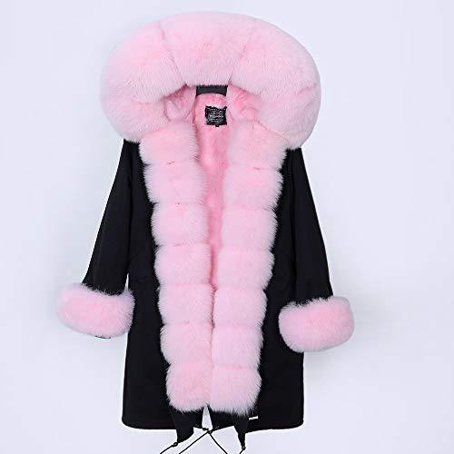 JNXFUZMG 2020 Mujeres de Invierno Abrigo Largo Abrigo de Moda Parques con Capucha Cuello Natural Chaquetas de Invierno (Color : 3, Size : Small)