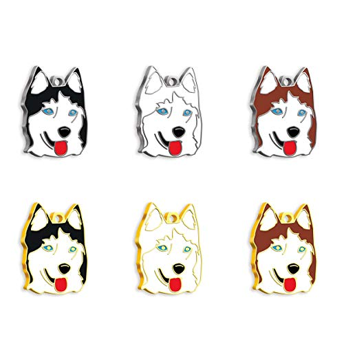 Pet Tag Art Siberian Husky Etiqueta de Mascota Personalizada grabada, Etiqueta de Perro, Etiqueta de identificación de Mascota