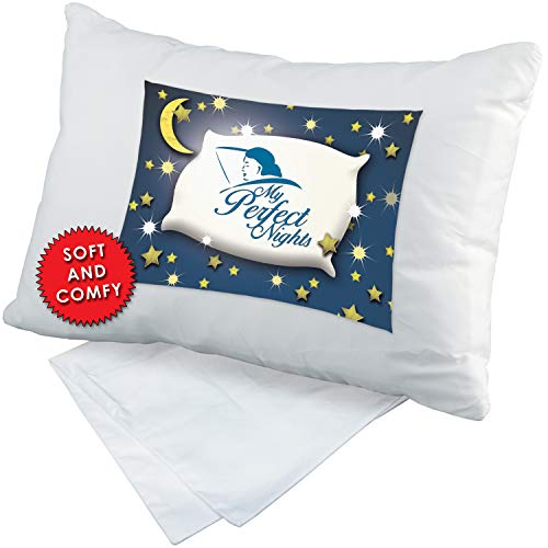 My Perfect Nights Toddler Pillow Travel Pillow with Pillowcase 13 x 18 White Machine Washable Soft Organic Cotton