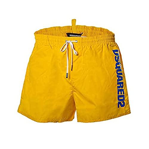 DSQUARED2 Costumi da Bagno per Uomo - Boxer Midi, Pantaloncini da Bagno, Logo, Inserto in Rete, unicolore (54 (XX-Large), Giallo)