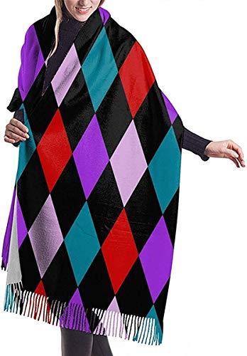 Mujeres Pashmina Wrap Bufanda Cashmere Feel Chal Wraps Arlequín Diamantes Color Moda Bufanda grande para mujeres Invierno Cálido Bufandas suaves Manta