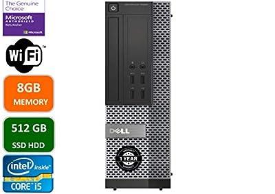 Dell Optiplex 7020 Desktop Computer, Intel Quad-Core i5-4570-3.2GHz, 8GB RAM, 512GB SSD HDD, DVD, USB 3.0, WiFi, HDMI, Windows 10 Pro (Renewed)