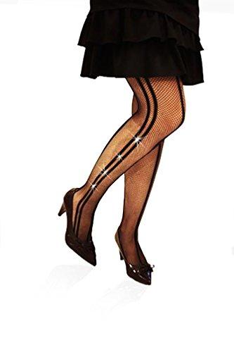 Panty's, netstof, zwart, meerdere naden, strass