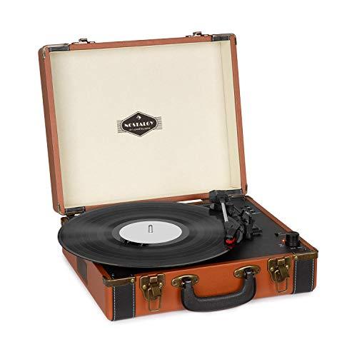 auna Jerry Lee BT - Plattenspieler, Schallplattenspieler, Riemenantrieb, Stereo-Lautsprecher, Bluetooth, Aufnahme-, & Wiedergabe, USB, AUX, 33, 45, 78 U min. 3 Plattengrößen, Hellbraun