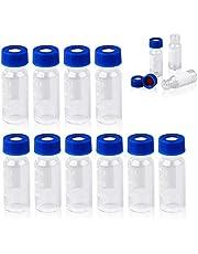 FOUR E - Viales de 2 ml con parche de escritura 9-425 con rosca superior y tapa azul con agujero + PTFE rojo + Septa de silicona blanca para cromatografía HPLC GC