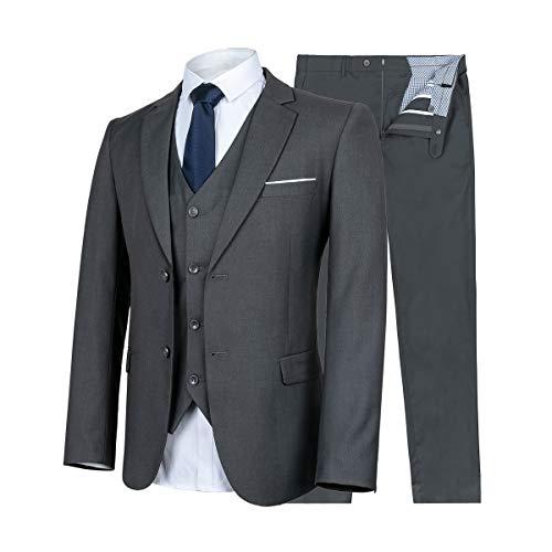 CALVINSUIT Men's 2 Pieces Suit Double Breasted Peak Lapel Business Wedding Tuxedo Gray