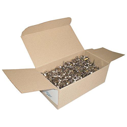 Wedo 1123000 - Pack de 1000 encuadernadores con cabeza redonda, plateado