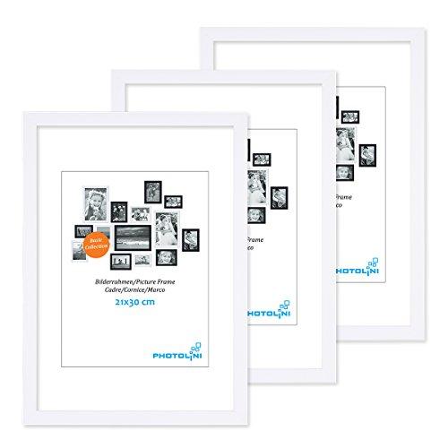 PHOTOLINI 3er Set Bilderrahmen 21x30 cm DIN A4 Modern Weiss aus MDF mit Acrylglas/Portraitrahmen/Wechselrahmen