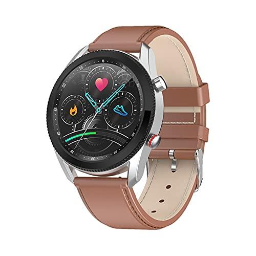ZYY L61 Moda Smart Watch Business Casual Men's Relk Dial de Reloj Se Puede Girar para Cambiar la Interfaz de la función Reducción del Reloj de los Hombres Adecuado para Android iOS,C