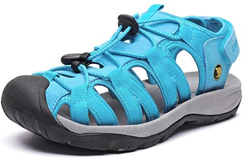 CAMEL CROWN Womens Hiking Sandals Waterproof Closed Toe Summer Water Sandal for Beach Fisherman Outdoor Sport Walking Athletic Blue 7.5