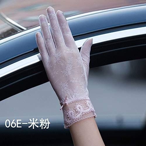 Guantes Sexis de Verano para Mujer con protección Solar UV, Guantes Cortos para Mujer, Moda, Seda, Encaje, conducción de Pantalla táctil Fina, Guantes para Mujer-06E Beige Pink-Palm Width 8cm