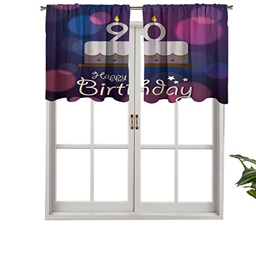 Hiiiman Rod Pocket Curtain Valances Dreamy Layout with Color Spots Artistic Graphic Style Tasty, Set of 2, 54'x24' Thermal Insulated for Living Room