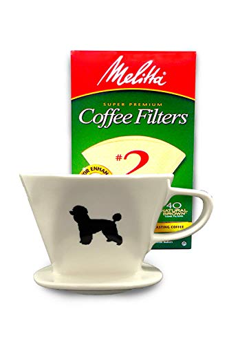 Buy Bargain Poodle Coffee Pour Over Single Cup Ceramic Brewer with Melitta Filters by Simply Charmed