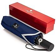 PREMIUM AUSFÜHRUNG: Unser faltbarer Regenschirm zeichnet sich durch hohe Qualität und luxuriöses Design aus und ist wunderschön präsentiert mit Stoffhülle und Geschenkbox. LYO & AURIS ist eine Mode- und Lifestyle-Marke mit Sitz in London, die für Ele...