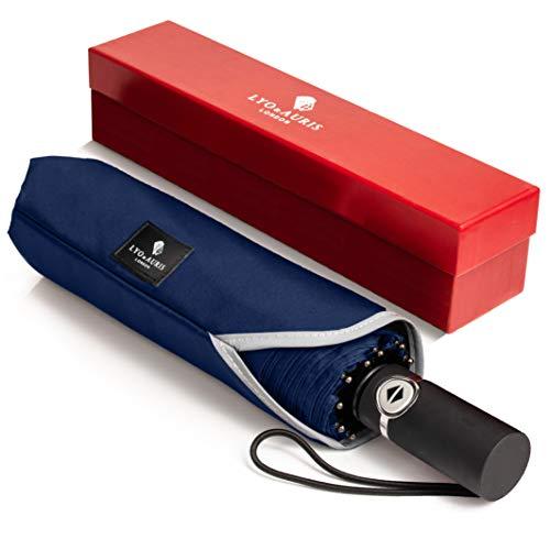 LYO & AURIS Parapluie Pliant - Automatique Ouverture et Fermeture Résistant au Vent à Tempête Léger Solide Compact Parapluie de Voyage avec Pochette, Boite Cadeau et App Mobile (Bleu)