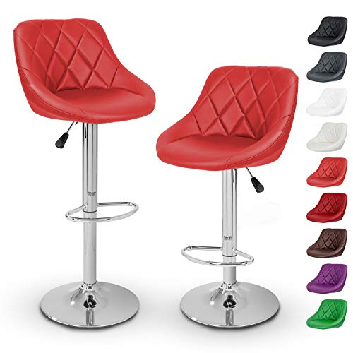 TRESKO Barhocker 2er Set mit Lehne - Barstuhl höhenverstellbar - Hocker für Theke & Küche, Barstühle 360° drehbar - verchromter Stahl, Fußstütze (Rot)
