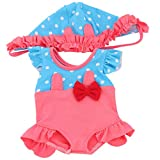 MagiDeal 2pcs Schwimmset für 18 Zoll Puppen, Einteilige Jumpsuit Badeanzug + Badekappe - Pink
