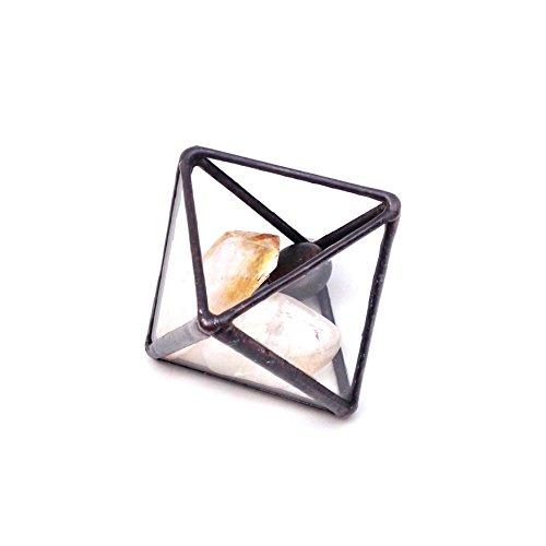 Diamant Petite Terrarium/géométrique en verre Pot de fleurs/pot de fleurs moderne/fait à la main en Angleterre S Noir