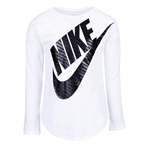 Nike Girls' Little Long Sleeve Sportswear Graphic T-Shirt, White, 4