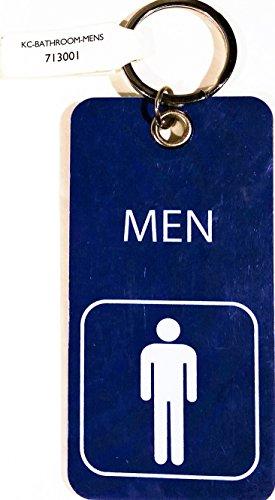 Key Tag with Ring, Mens Bathroom with Symbol, Blue