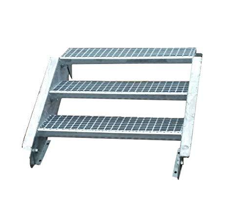 Stahltreppe Aussentreppe Wangentreppe verzinkt 3 Stufen GH 40-60 cm 3-150-Z
