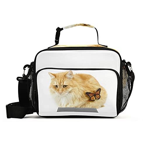 Naanle Linda bolsa de almuerzo con correa ajustable para el hombro aislada a prueba de fugas, caja de picnic con doble cremallera, bolsa de almuerzo abierta para oficina, trabajo, escuela
