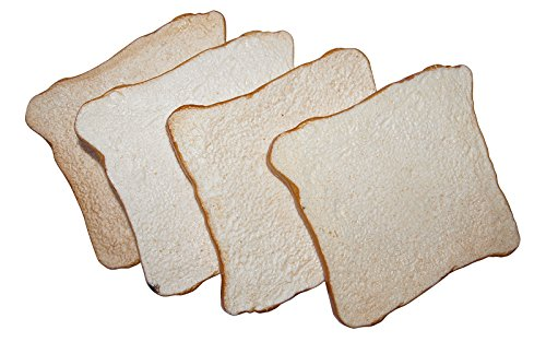 ERRO 4 Scheiben Toastbrot aus Kunststoff - 15489, Attrappe, Lebensmittelattrappe, Toast Brotattrappe, Nachbildung, Imitation zur Requisite, Theaterdeko, Bühnendeko, Gastronomiebedarf