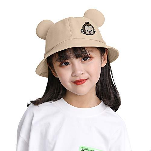 VESNIBA Sombrero para niña con ala ancha, protección solar UPF 50 para bebés, niñas, niños, bebés, niños pequeños, unisex. beige 46-48