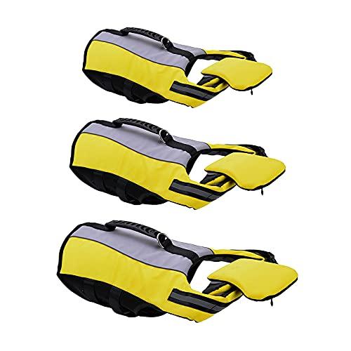 RIABXZ Large Dog Life Jacket Safety Vests Adjustable Superior Buoyancy Rescue Handle Convenient Swimming Fold Pet Clothes Dog Floating Vest (L)