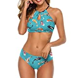 Bikini Swimsuit for Women Elegant Halter Neck Beachwear Colorful Fish Koi Carps Animals Wildlife Bikini Sets Swimwear Bathing Suit Strap Side Bottom Swimsuit Padded Push-Up Bra Sets