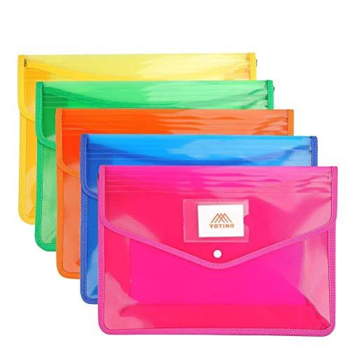 YOTINO Portadocumenti di Plastica5 PCS- Grande Capacità, Busta di Plastica a Colori Assortiti con Bottone per Documenti per A4 Buste Portadocumenti