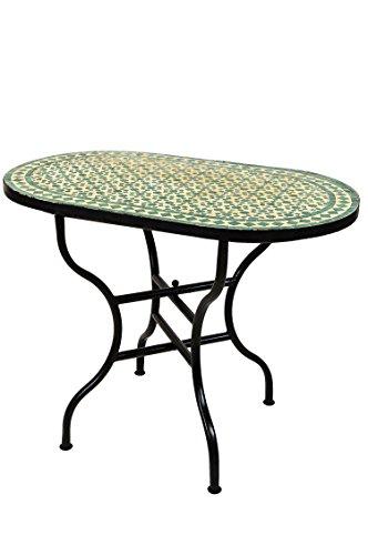 ORIGINAL Marokkanischer Mosaiktisch Gartentisch 100x60cm Groß eckig klappbar | Eckiger klappbarer Mosaik Esstisch Mediterran | als Klapptisch für Balkon oder Garten | Albaicin Beige Grün 100x60cm