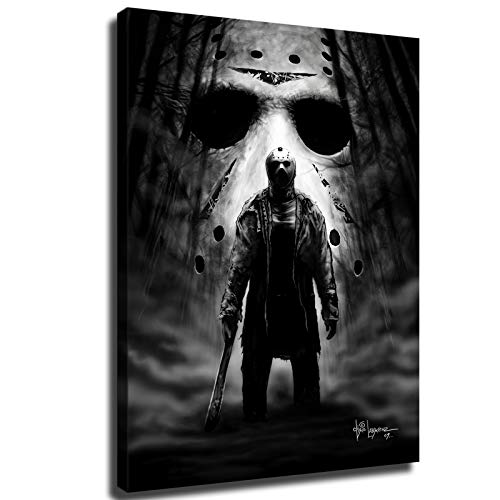 Horror Murderer Jason Voorhees, Wall Art for Living Room Canvas Wall Decor 1 Piece Modern Canvas Pictures Painting (12x16 inch,Framed)