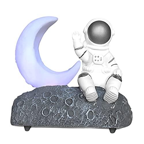 MagiDeal Moon Light Astronaut Altavoz Bluetooth con Linterna LED Sonido Estéreo Radio FM para Niños Niñas Niños Cumpleaños Dormitorio Decoración del Hogar Navi - Gris Plateado