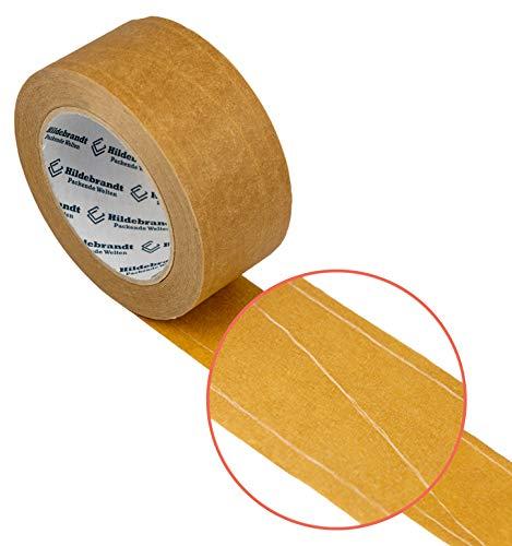 Fadenverstärkte Papierklebeband 50 mm x 50 lfm, Recyclebares Klebeband, braun, 6 Roll.
