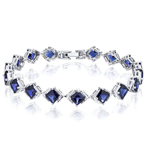 Peora Princess Cut Created Sapphire Bracelet in Sterling Silver 12 Carats Total Weight