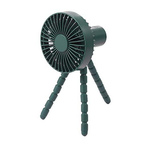 MYhose Ventilador de refrigeración Ventilador de Clip con batería Recargable de 1800 mAh USB de 3 velocidades con trípode Flexible Verde