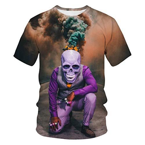 Zaima T-Shirt Men's Round Neck 3D Digital Printed Short-Sleeved T-Shirt Casual Top