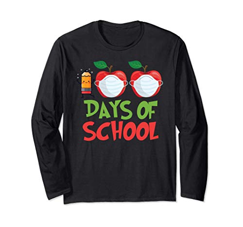 Camiseta 100 días de escuela maestro virtual remoto alumno Manga Larga