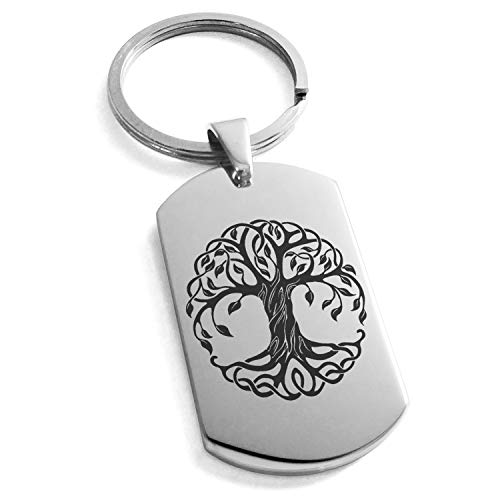 Tioneer Stainless Steel Celtic Knot Tree of Life Symbol Dog Tag Keychain Keyring