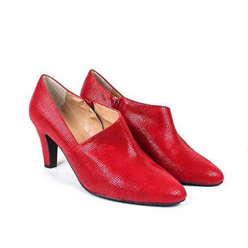 VOFICE - Botines Salones Abotinados Rojos de Vestir para Mujer en Piel - Tacon 7 cm - Hechos en España - Cierre Cremallera - Moda Tendencia Zapatos Elegantes Invierno - Grabado Lagarto - Rojo 38 EU