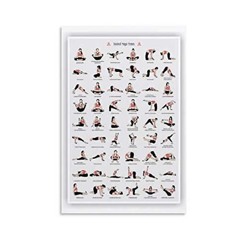 ERTEF Póster de yoga y asanas sentadas en lienzo y arte de pared, impresión moderna para dormitorio familiar, 30 x 45 cm