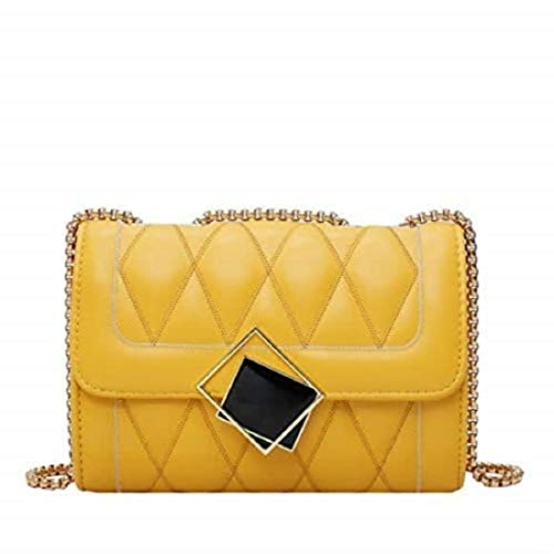 Rare Fig Bolso de mujer pequeño bolso de hombro de cuero PU acolchado - bolso bandolera de fiesta de noche -Amarillo