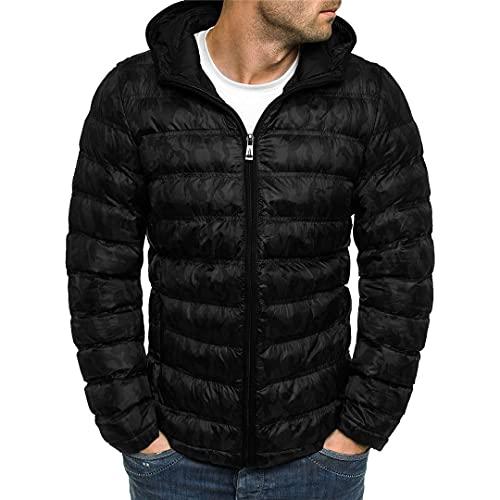 Chaqueta de invierno para hombre de algodón térmico grueso parkas casual Outwear sudaderas cortavientos, Negro, XXL