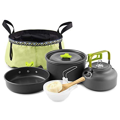 Lixada Outdoor 10 stuks camping kookgerei mes kit backpacking kookpan set waterkoker met klep wastafel emmer voor 2-3 personen